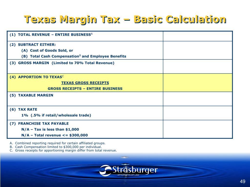 Texas Margin Tax – Basic Calculation