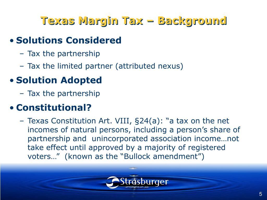 Texas Margin Tax – Background