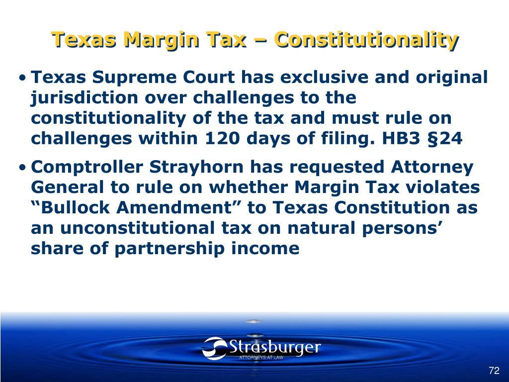 Texas Margin Tax – Constitutionality