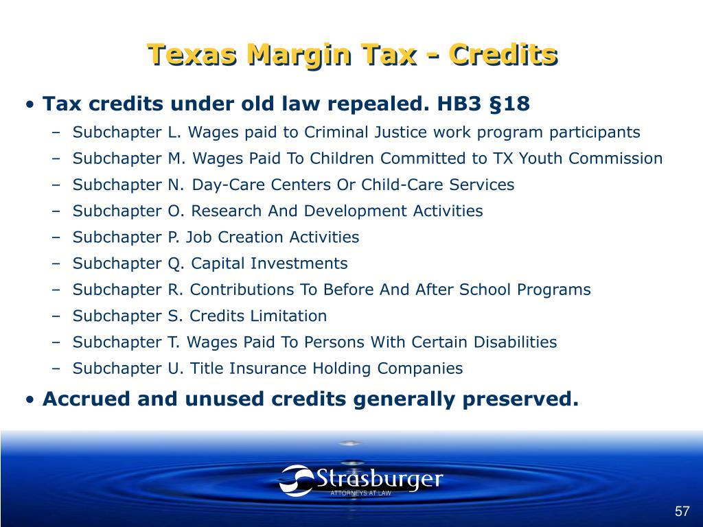 Texas Margin Tax - Credits