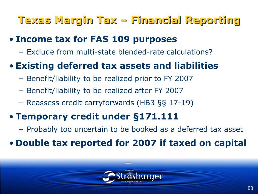 Texas Margin Tax – Financial Reporting