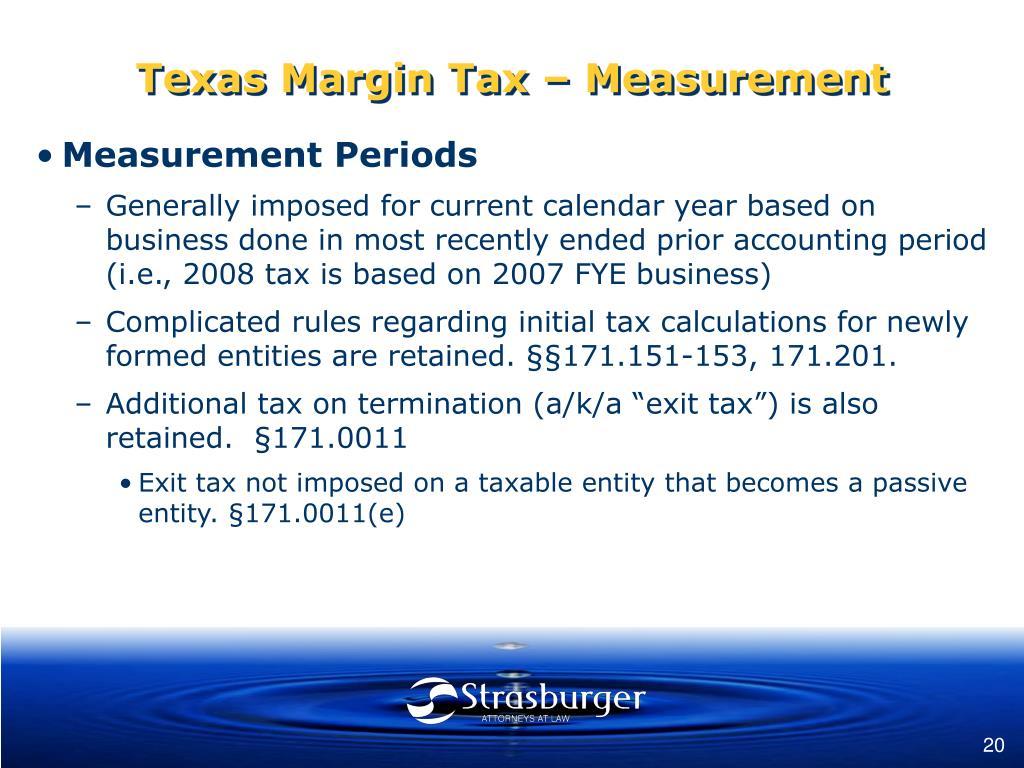 Texas Margin Tax – Measurement