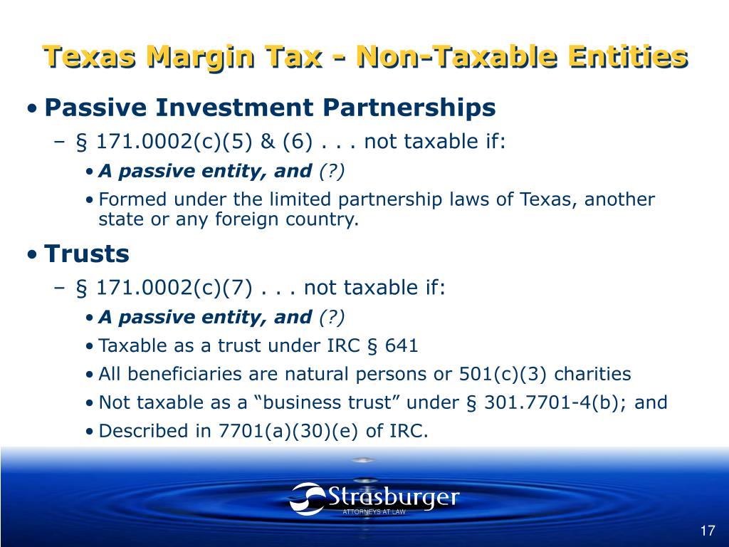 Texas Margin Tax - Non-Taxable Entities