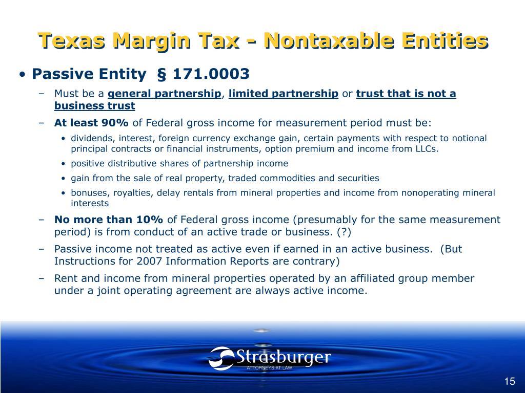 Texas Margin Tax - Nontaxable Entities