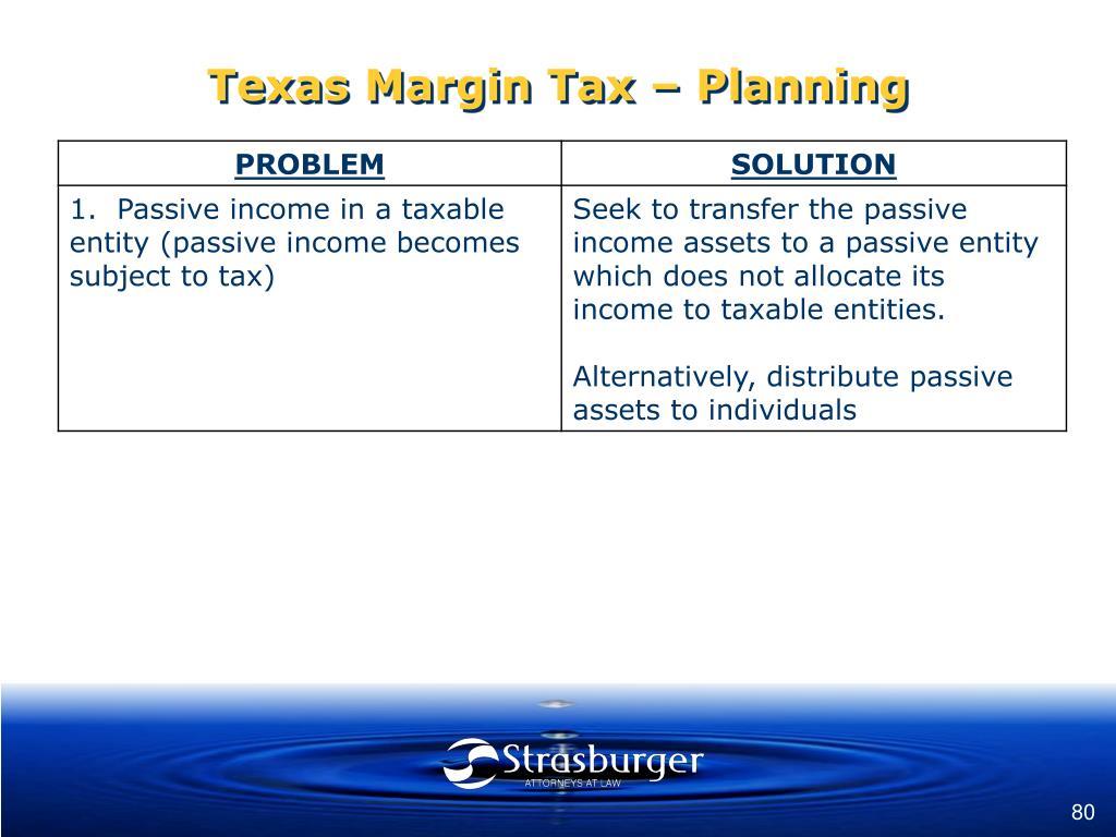 Texas Margin Tax – Planning