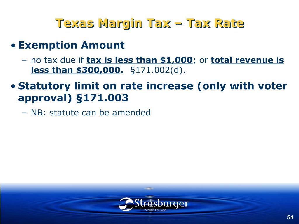 Texas Margin Tax – Tax Rate