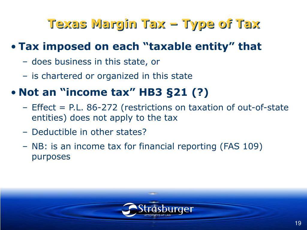 Texas Margin Tax – Type of Tax