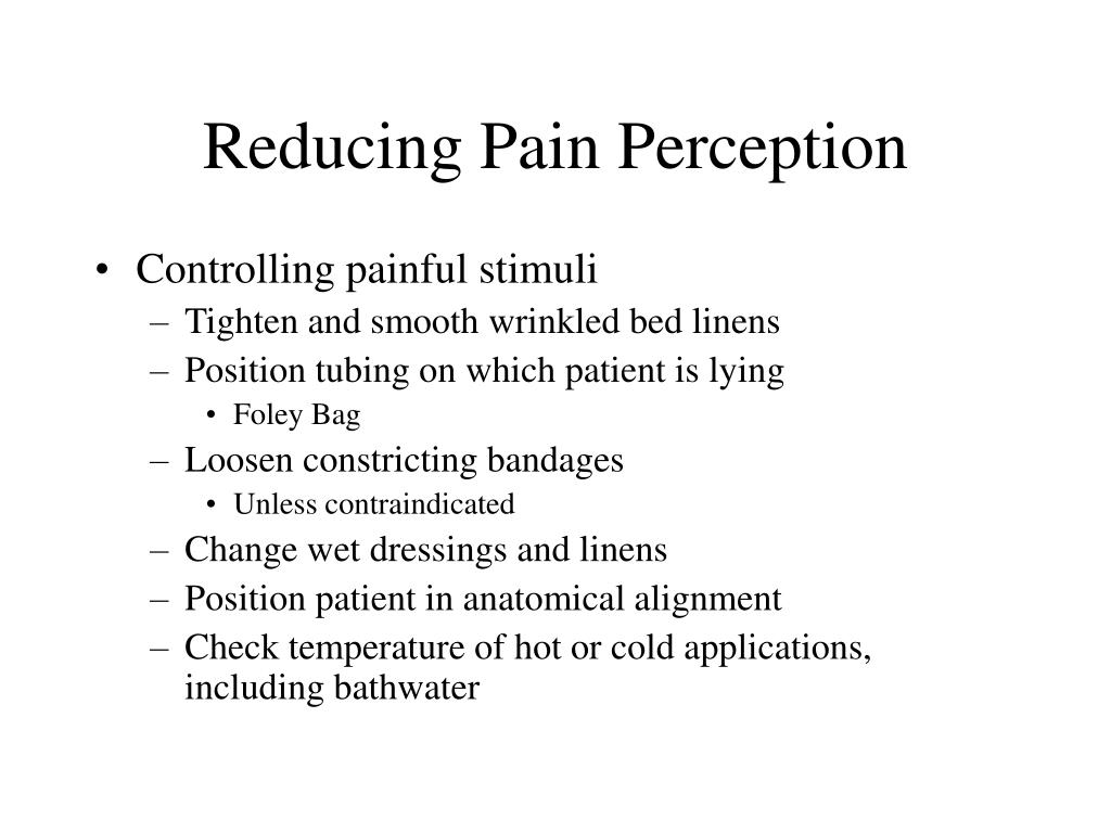 Reducing Pain Perception