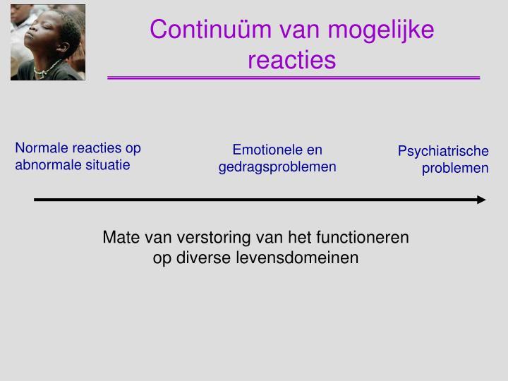 Continuüm van mogelijke reacties