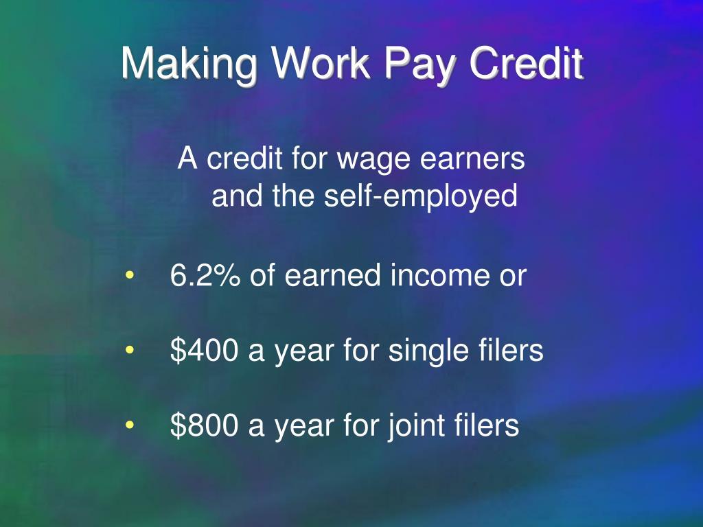 Making Work Pay Credit