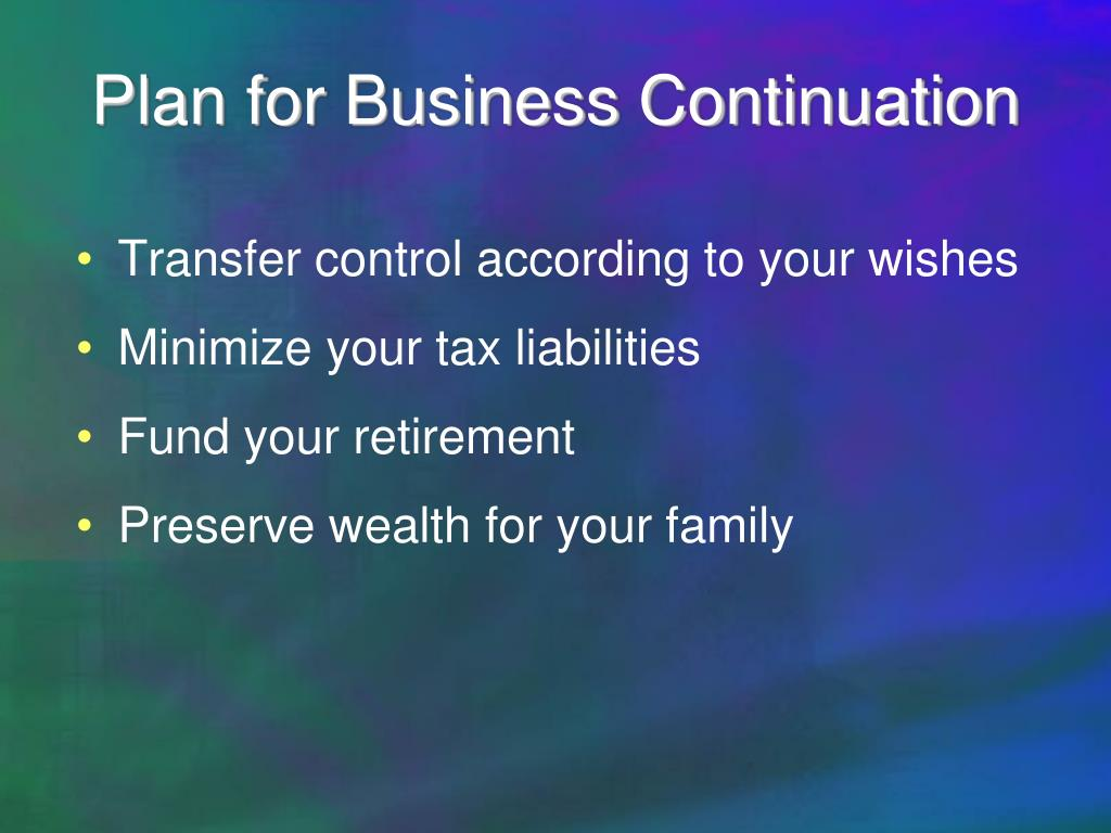 Plan for Business Continuation