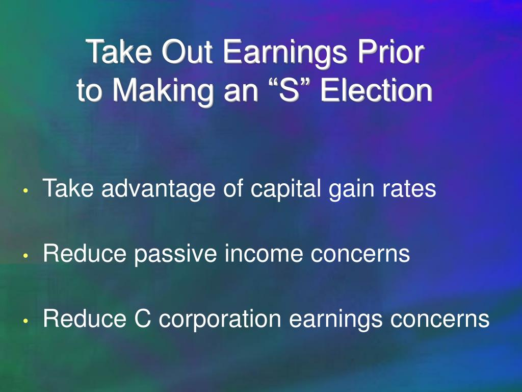 Take Out Earnings Prior