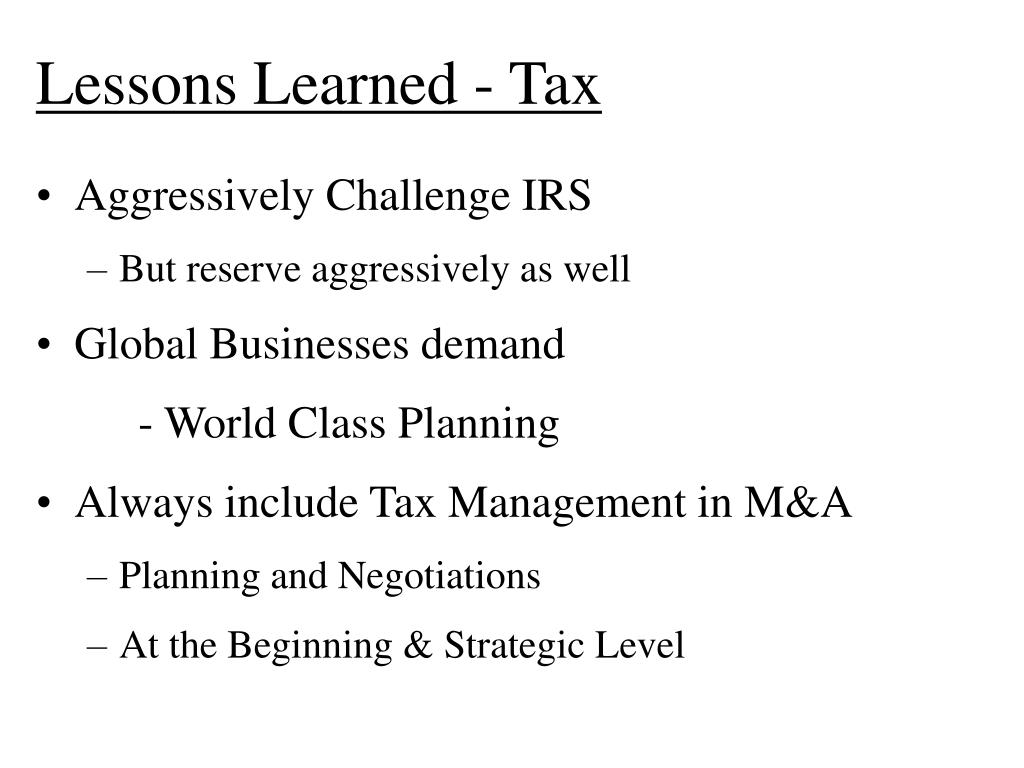 Lessons Learned - Tax