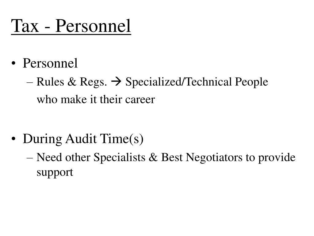 Tax - Personnel