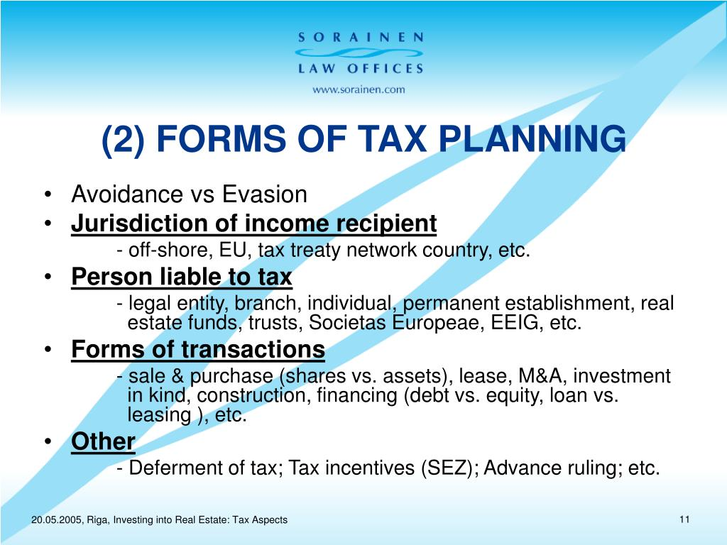 (2) FORMS OF TAX PLANNING