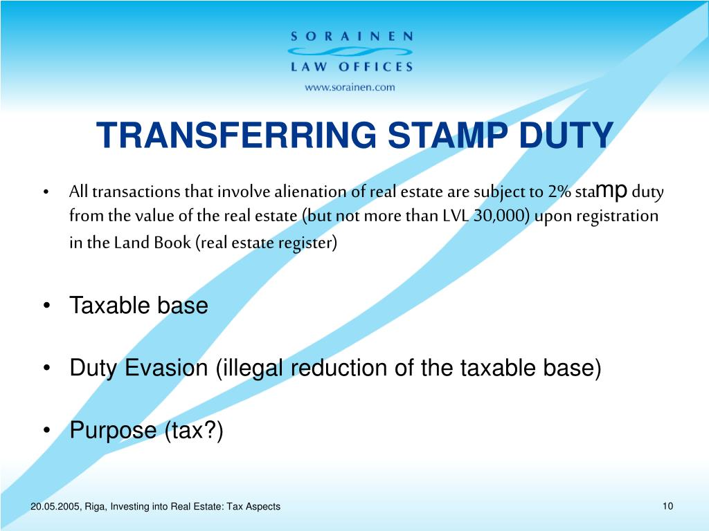 TRANSFERRING STAMP DUTY