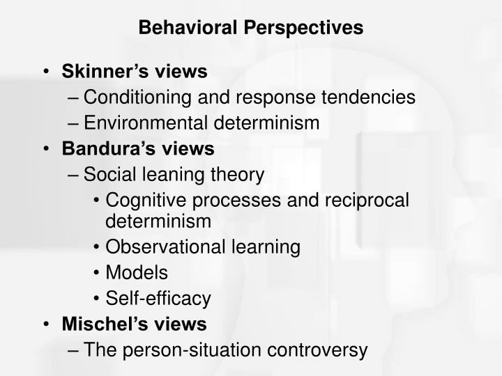a research on behaviorist perspectives Free essay: both perspectives of learning theories were not developed as a consequence of research in any one academic field and these theories have.