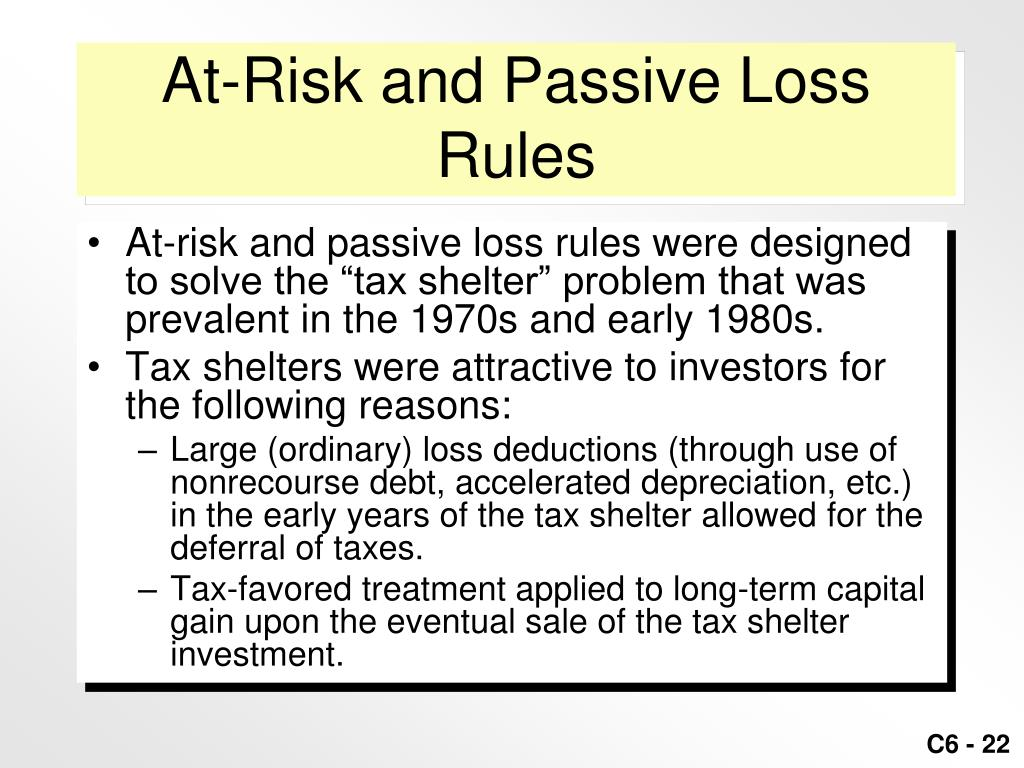 At-Risk and Passive Loss Rules