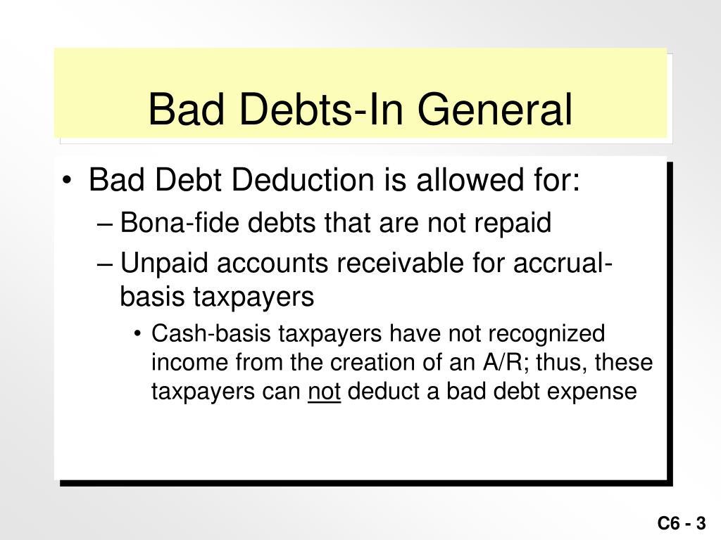 Bad Debts-In General
