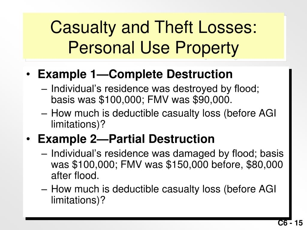 Casualty and Theft Losses: