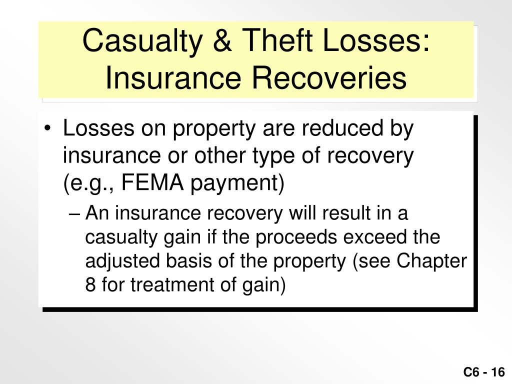 Casualty & Theft Losses: Insurance Recoveries