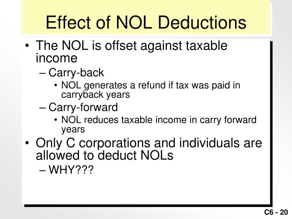 Effect of NOL Deductions