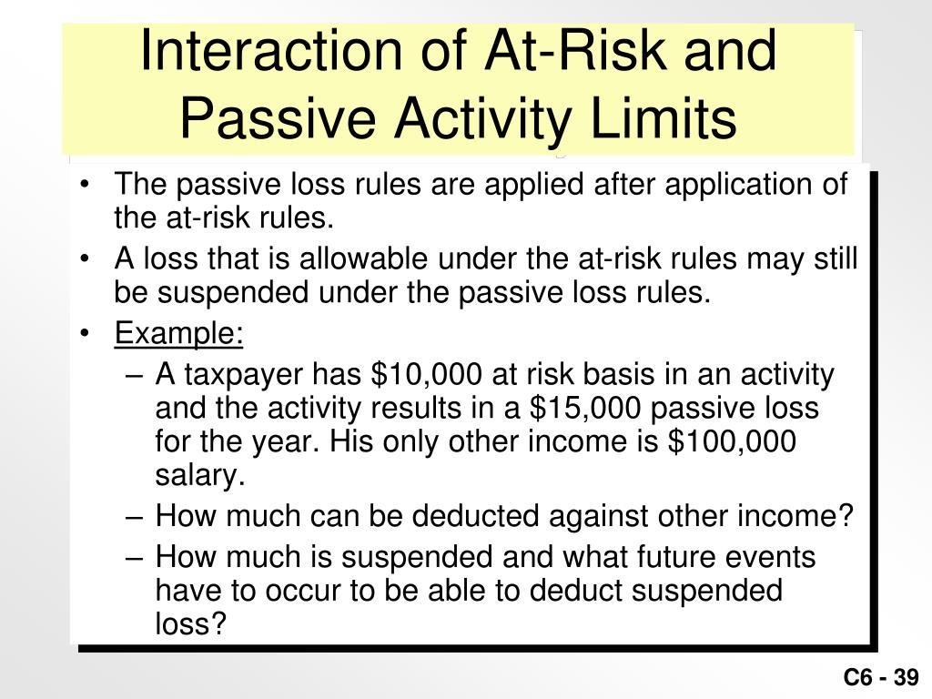 Interaction of At-Risk and Passive Activity Limits
