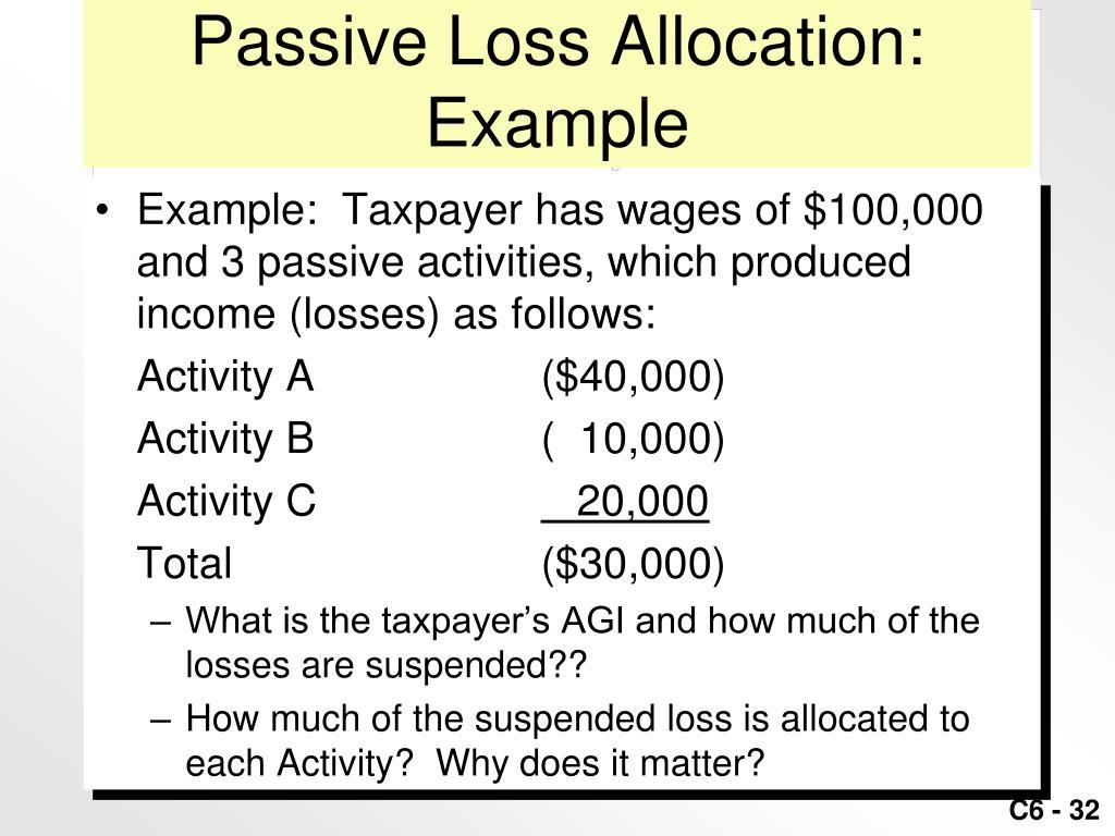 Passive Loss Allocation: Example