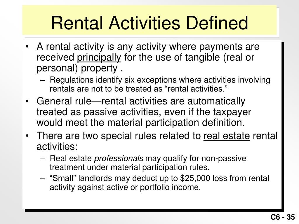 Rental Activities Defined