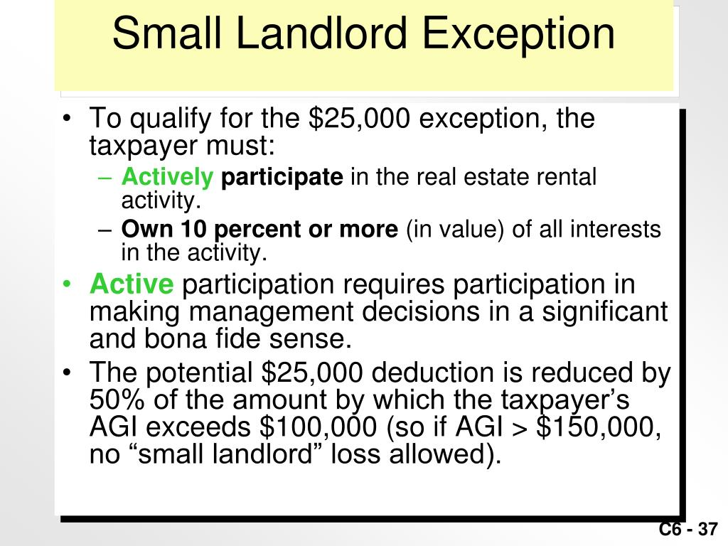 Small Landlord Exception