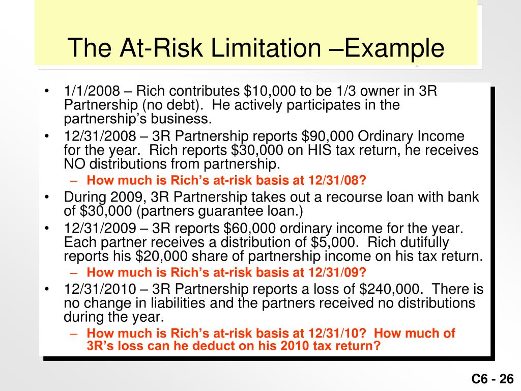 The At-Risk Limitation –Example