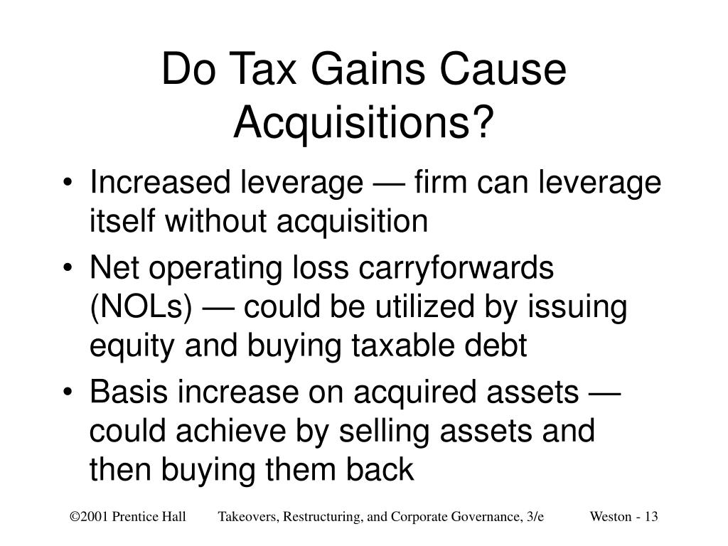 Do Tax Gains Cause Acquisitions?