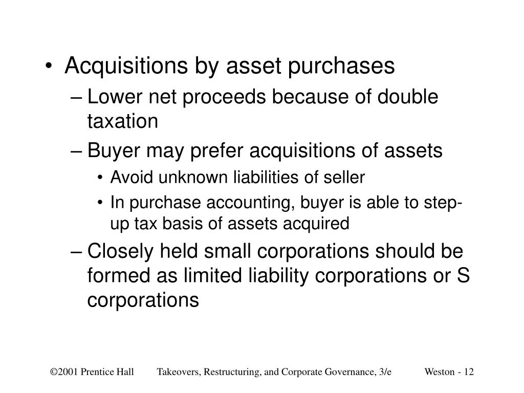 Acquisitions by asset purchases