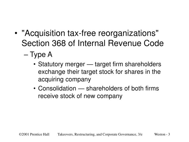 """Acquisition tax-free reorganizations"" Section 368 of Internal Revenue Code"