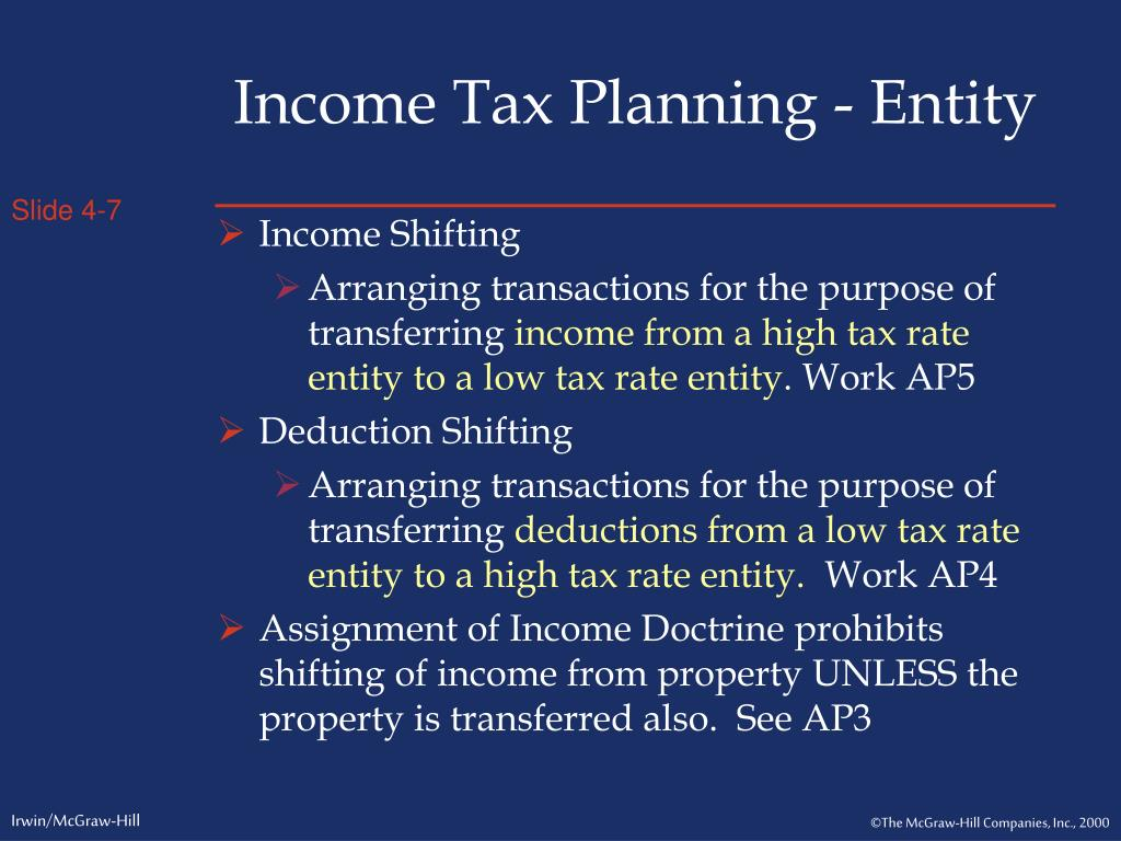 Income Tax Planning - Entity