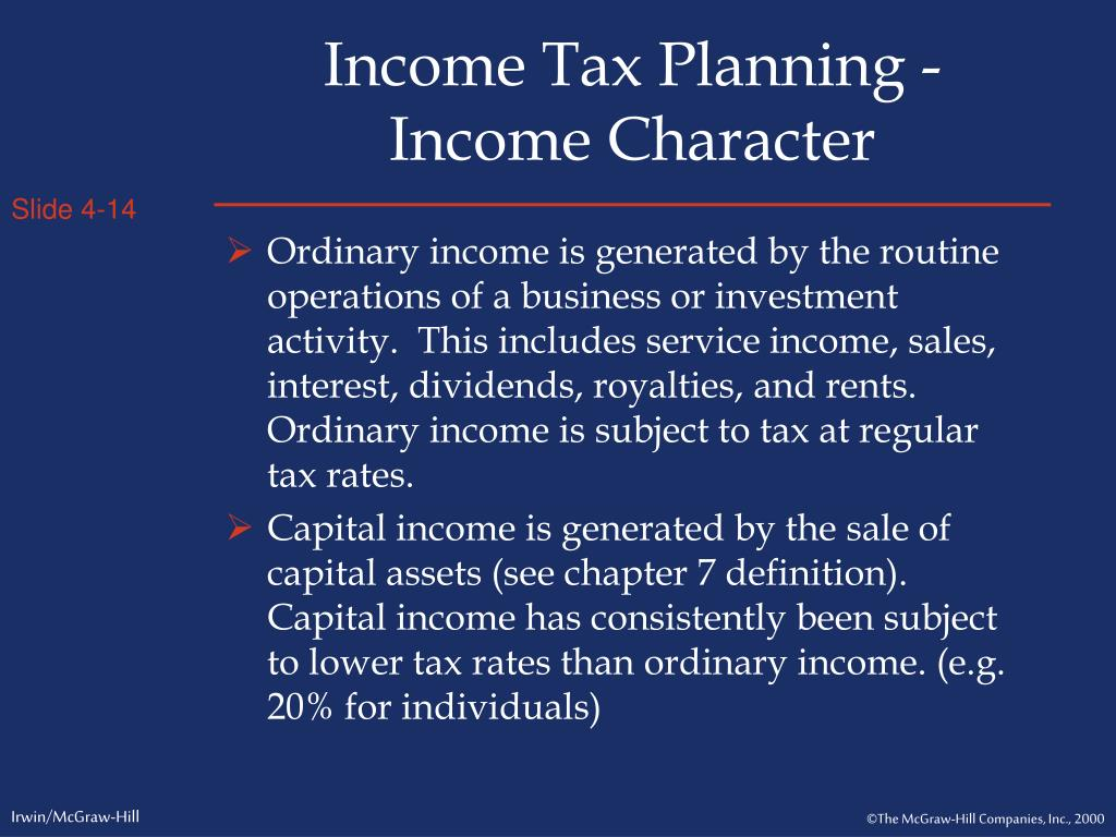 Income Tax Planning - Income Character