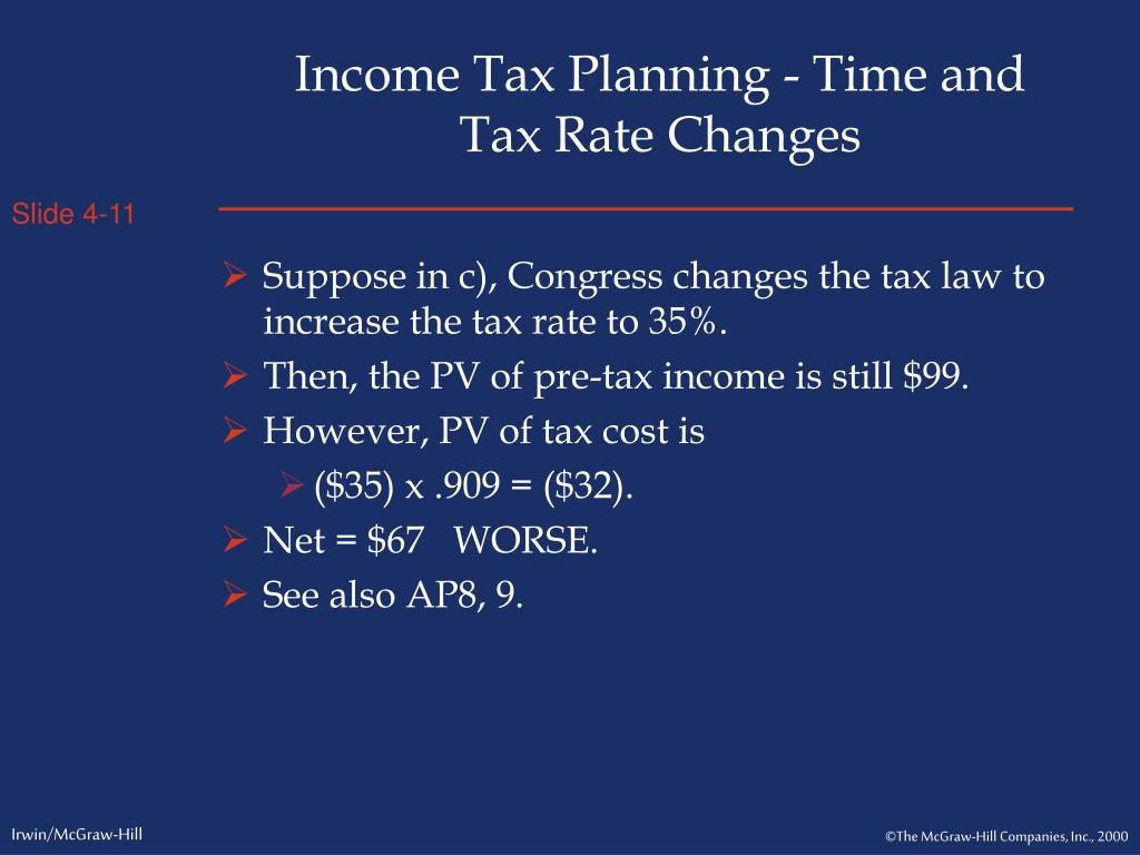 Income Tax Planning - Time and Tax Rate Changes