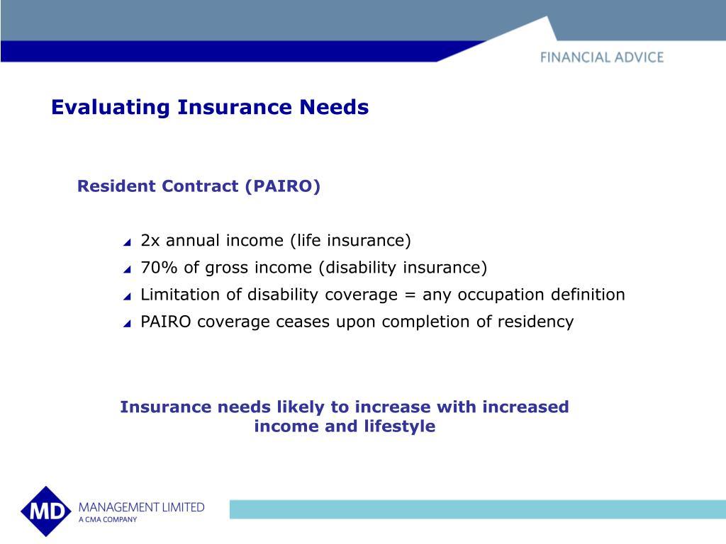 Evaluating Insurance Needs