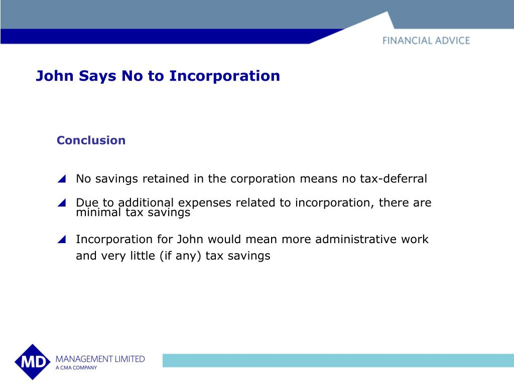 John Says No to Incorporation