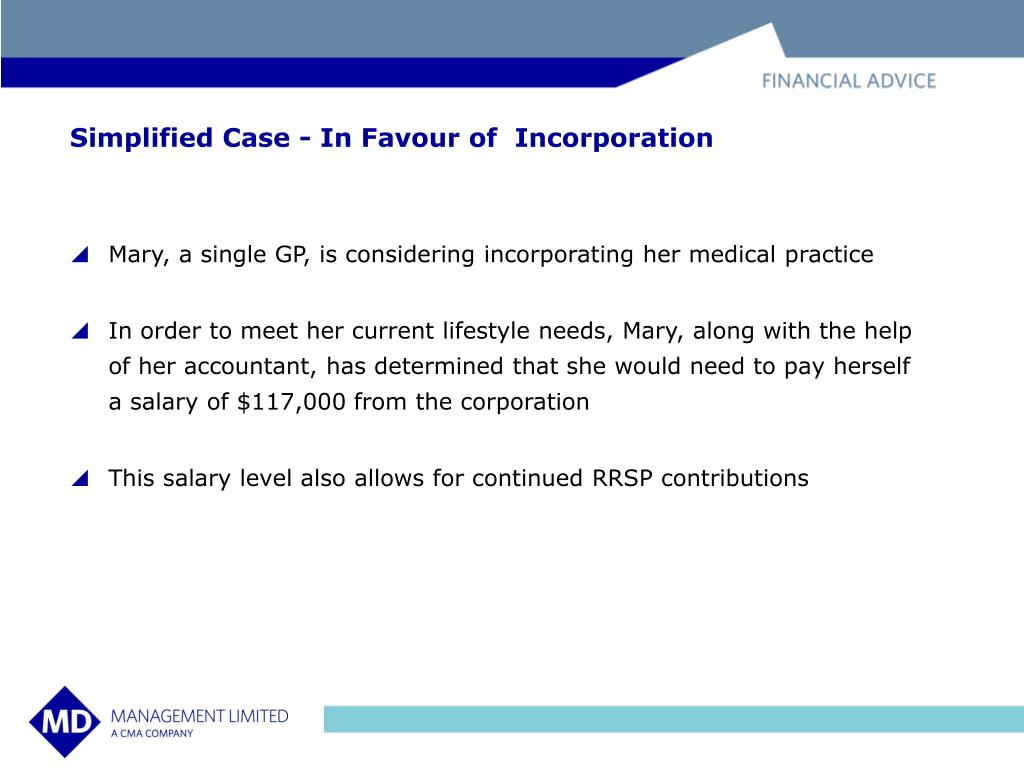Simplified Case - In Favour of  Incorporation