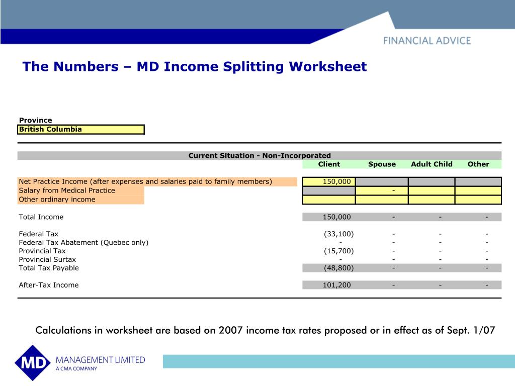 The Numbers – MD Income Splitting Worksheet