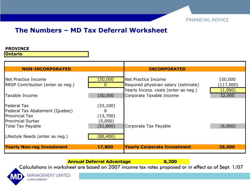 The Numbers – MD Tax Deferral Worksheet