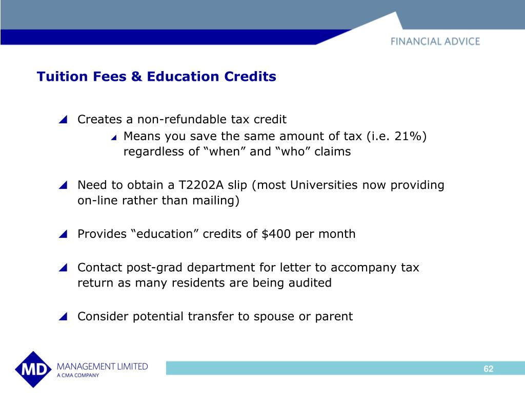 Tuition Fees & Education Credits