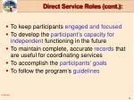 direct service roles cont