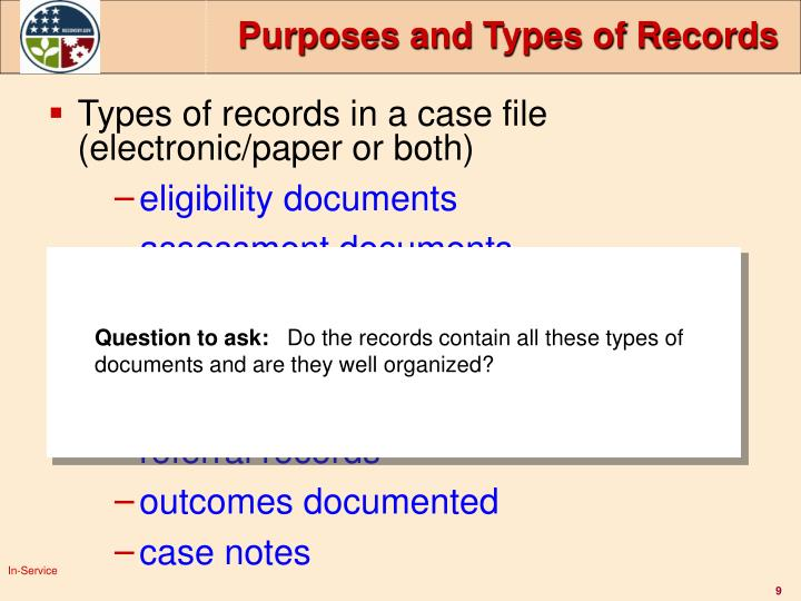 Purposes and Types of Records