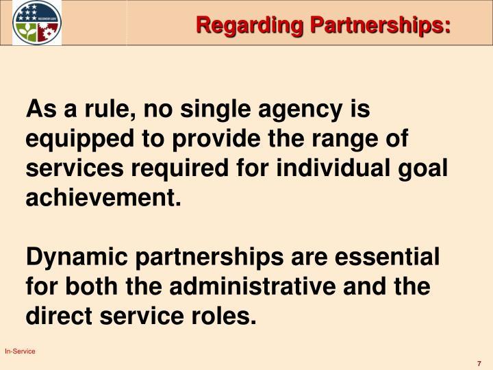 Regarding Partnerships: