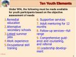 ten youth elements