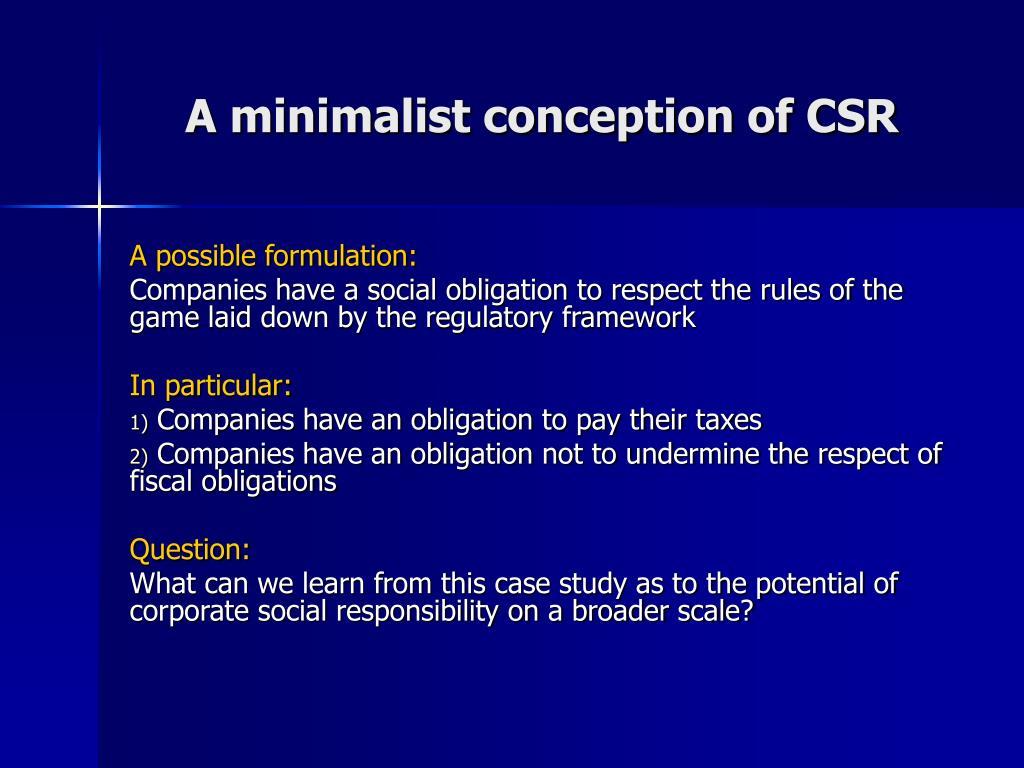 A minimalist conception of CSR