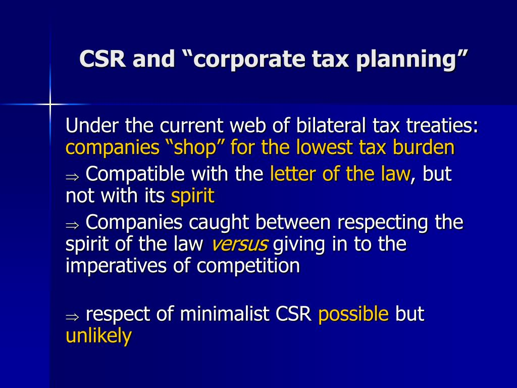 """CSR and """"corporate tax planning"""""""