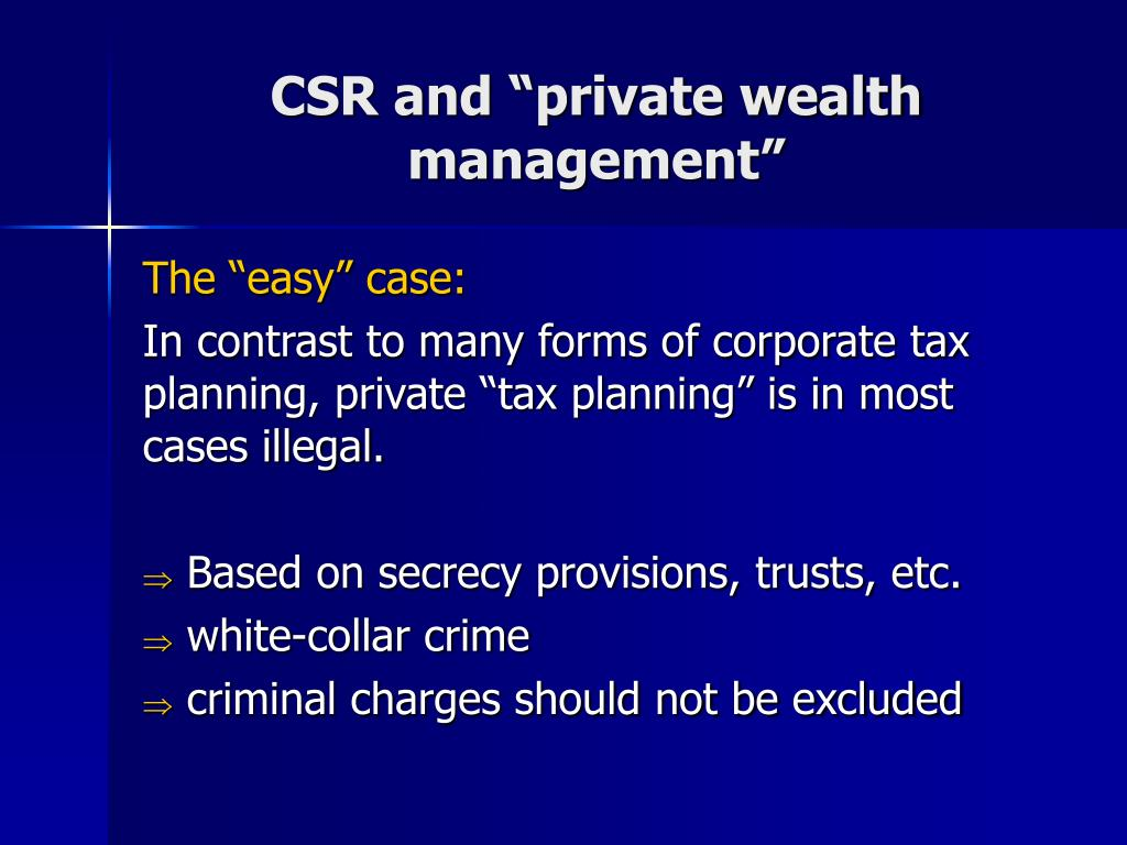 """CSR and """"private wealth management"""""""
